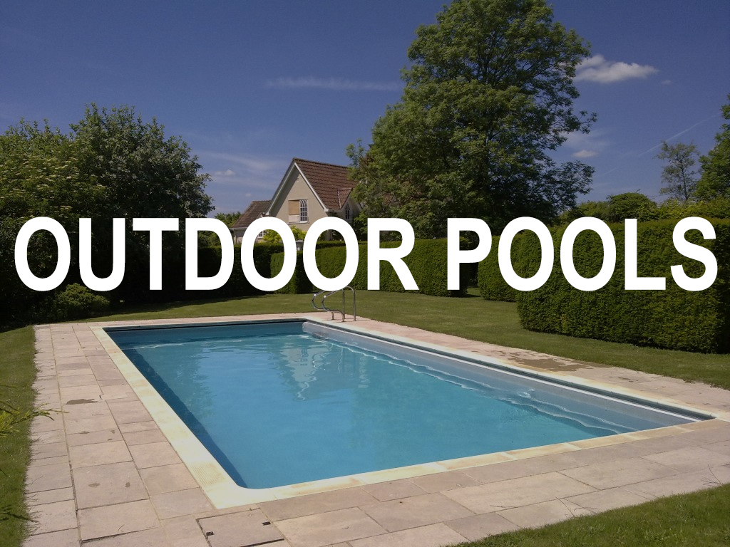 Outdoor pools cover header in garden
