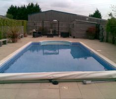 Outdoor garden pool with steps