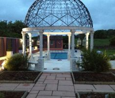 Bandstand feature at the bottom of the pool